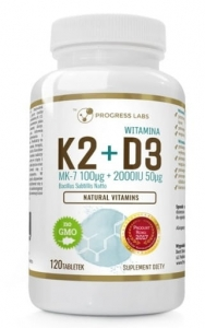 Witamina K2 MK 7 100 mcg z natto + D3 2000 IU Progress Labs, 120 tabletek