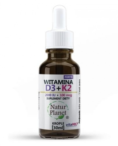 Witamina K2 Mk7 Natto + D3 krople Natur Planet, 30 ml