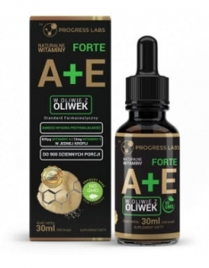 Witamina A + E Forte 900 kropli dla wegan Progress Labs, 30 ml