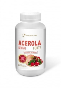 Acerola Forte 500mg naturalna witamina C Progress Labs, 120 tabletek